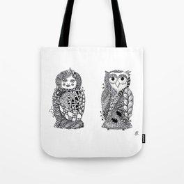 Babushka n Owl Tote Bag