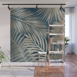 Tropical Palm Leaves, Dark Teal and Gold Wall Mural