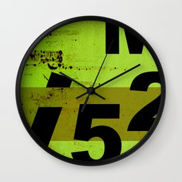 GRUNGE TECHNO V52m Typography | olive black Wall Clock