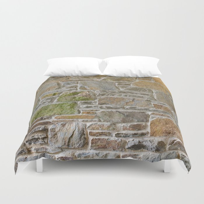 Avondale Brown Stone Wall and Mortar Texture Photography Duvet Cover