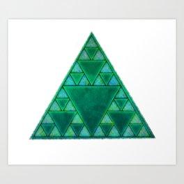 Sierpinski Triangle In Green Art Print
