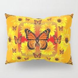 YELLOW SUNFLOWERS & MONARCH BUTTERFLIES Pillow Sham