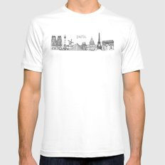 Paris Landmarks by the Downtown Doodler Mens Fitted Tee MEDIUM White