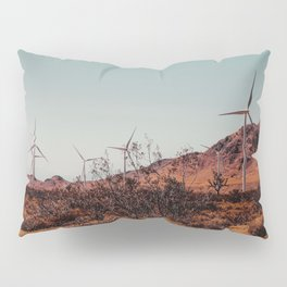 Wind turbine and desert view at Kern County California USA Pillow Sham