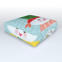 I love sushi. Kawaii funny sushi set with pink cheeks and big eyes, emoji. Blue japanese pattern Outdoor Floor Cushion