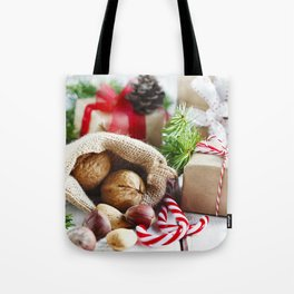 Christmas nuts gift hazelnuts New Year decoration Tote Bag