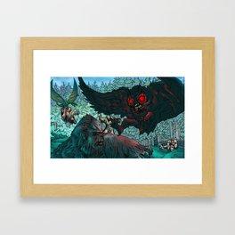 MOTHMAN DIVE BOMBING SASQUATCH Framed Art Print