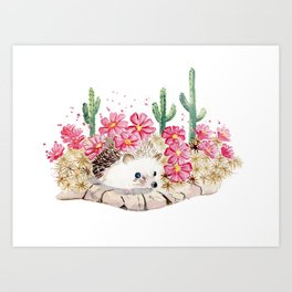 Camouflage - Hedgehog and Cactus Art Print