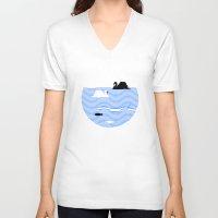 black swan V-neck T-shirts featuring Black Swan White Swan by Studio Su