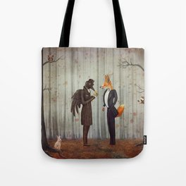 Raven and Fox in  a dark forest looking at the watch Tote Bag