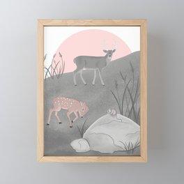 Fawn Imitating The Buck Framed Mini Art Print