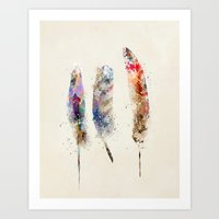 feathers Art Prints featuring feathers by bri.buckley