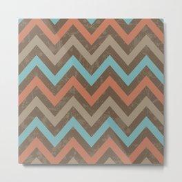 Geometric Boho Chevron Pattern Weathered Brown Turquoise and Orange Metal Print
