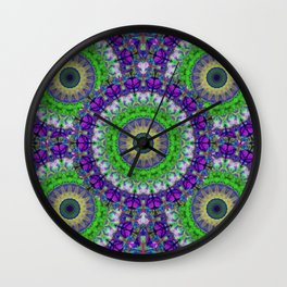 Green Light Mandala Art by Sharon Cummings Wall Clock