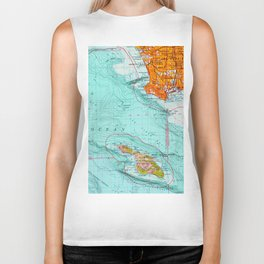 Long Beach colorful old map Biker Tank