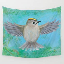 Goldcrest in top Wall Tapestry