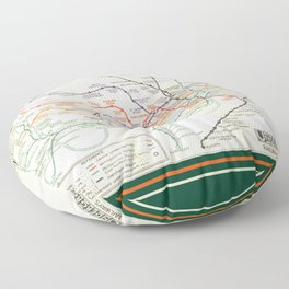 Vintage London Underground Map Floor Pillow