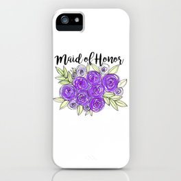 Maid Of Honor Wedding Bridal Purple Violet Lavender Roses Watercolor iPhone Case
