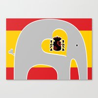spanish Canvas Prints featuring Spanish Elephant by Elephant Love