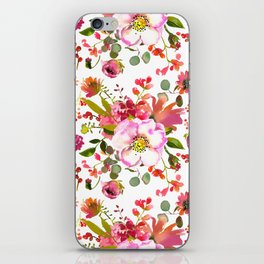 Country green coral pink red watercolor floral iPhone Skin