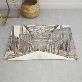 Snow Covered Bridge Rug