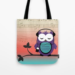 Owl Listening to Tunes Music Sheet Tote Bag