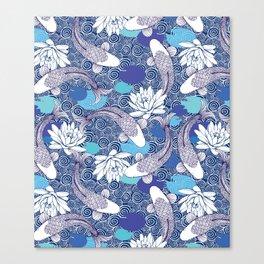 Blue Koi Ripples Canvas Print