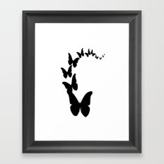 Midnight Black Butterfly Migration Design Framed Art Print