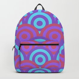 Layered Circles Geometric Pattern - Blue & Purple Backpack