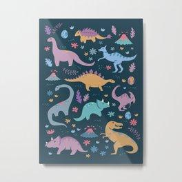 Dinosaur + Flowers Pattern Metal Print