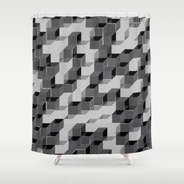Pixel Cube - Black Silver Shower Curtain