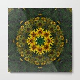 Large Yellow Wildflower Kaleidoscope Art 11 Metal Print