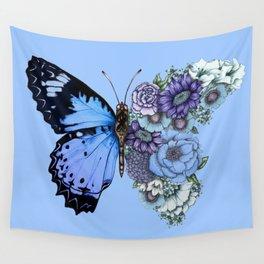 Blue Butterfly in Bloom Wandbehang