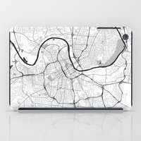 nashville iPad Cases featuring Nashville Map Gray by City Art Posters