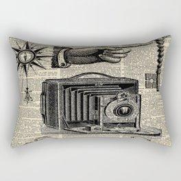 nautical compass dictionary print steampunk skeleton keys antique camera Rectangular Pillow