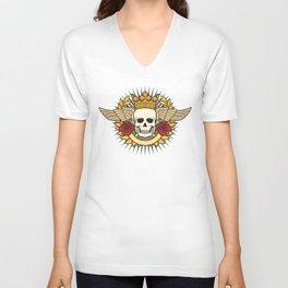 skull symbol tattoo design (crown, laurel wreath, wings, roses and banner) Unisex V-Neck