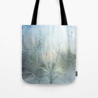 Tote Bags featuring Frozen window  by Svetlana Korneliuk