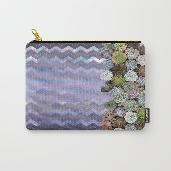Lavender Opal & Succulent Chevron  Carry-All Pouch