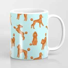 Red Poodles Pattern (Light Blue Background) Coffee Mug