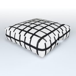 Strokes Grid - Black on Off White Outdoor Floor Cushion