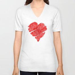 Old heart of coffee V T Shirts Unisex V-Neck