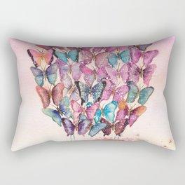 Butterfly Hot Air Balloon Illustration. Rectangular Pillow