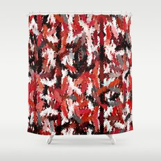 Black, White and Red Tapestry Shower Curtain
