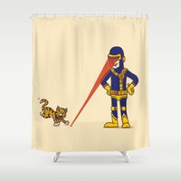 cyclops Shower Curtains featuring Evil Cyclops by Rodrigo Ferreira