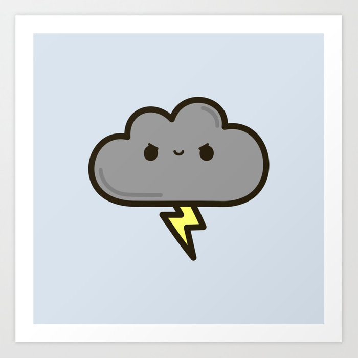 Cute lightning cloud Art Print by peppermintpopuk | Society6
