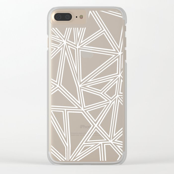 Abstract New White on Black Clear iPhone Case