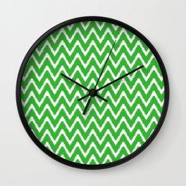 Key Lime Southern Cottage Ikat Chevrons Wall Clock