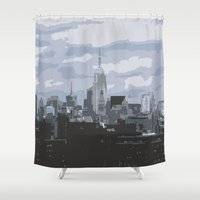 new york skyline Shower Curtains featuring New York Skyline by Thee Xelerator
