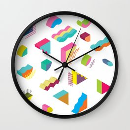 blocks isometric Color Design elements in the Memphis style Wall Clock