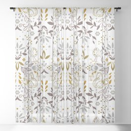 Enchanted forest - Brown-Gold Sheer Curtain